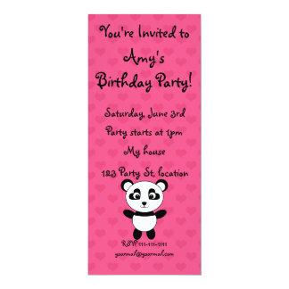 Personalized name panda pink hearts 10 cm x 24 cm invitation card