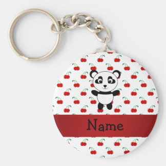 Personalized name panda red cherries key ring