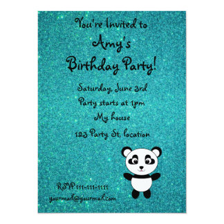 Personalized name panda turquoise glitter 14 cm x 19 cm invitation card