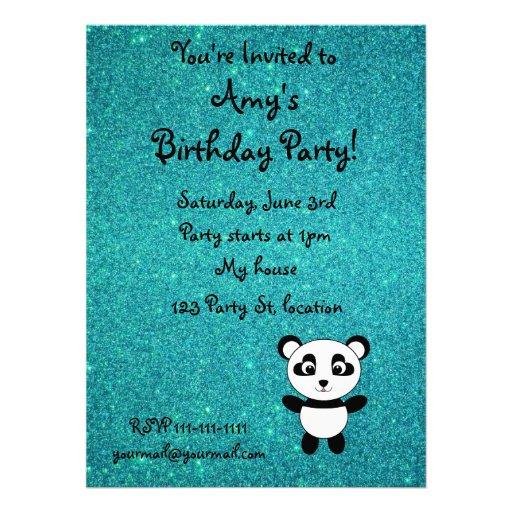 Personalized name panda turquoise glitter invitation