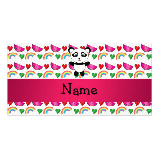 Personalized name panda watermelons hearts rainbow customised photo card