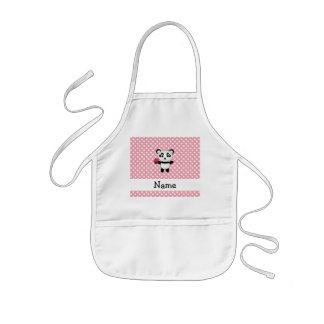 Personalized name panda with cupcake polka dots kids apron