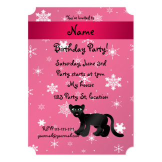 Personalized name panther pink snowflakes custom invite