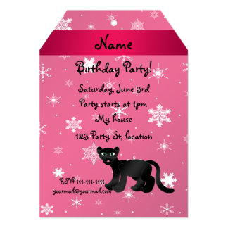 Personalized name panther pink snowflakes card