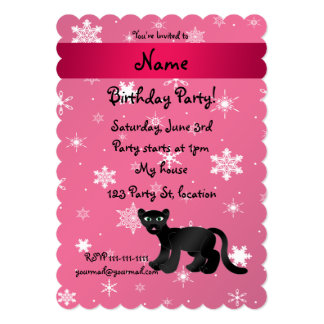 Personalized name panther pink snowflakes cards