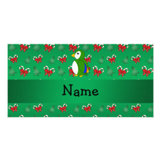 Personalized name parrot green candy canes bows picture card