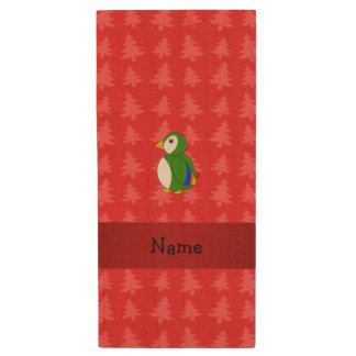 Personalized name parrot red christmas trees wood USB 2.0 flash drive