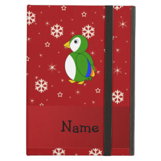 Personalized name parrot red snowflakes iPad folio cases
