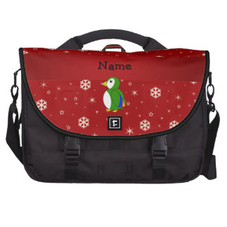 Personalized name parrot red snowflakes computer bag
