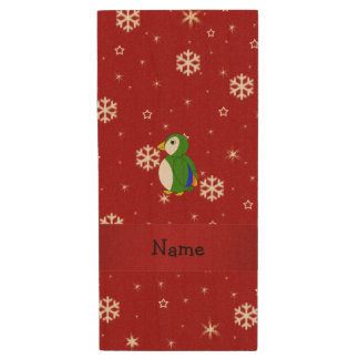 Personalized name parrot red snowflakes wood USB 2.0 flash drive