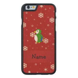 Personalized name parrot red snowflakes carved® maple iPhone 6 slim case