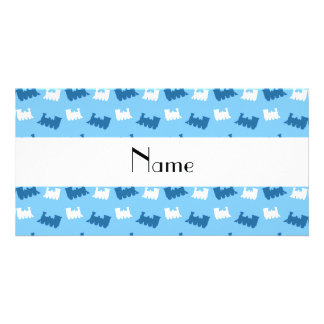 Personalized name pastel blue train pattern photo cards