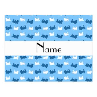 Personalized name pastel blue train pattern postcard