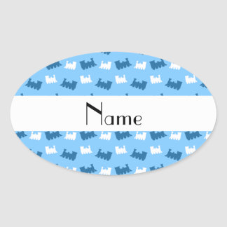 Personalized name pastel blue train pattern stickers
