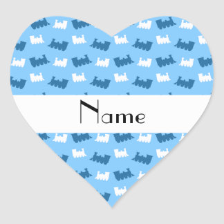 Personalized name pastel blue train pattern heart sticker