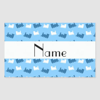 Personalized name pastel blue train pattern rectangle sticker