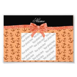 Personalized name pastel orange anchors bow photo art