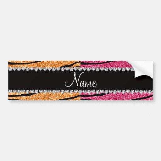 Personalized name pastel orange pink glitter zebra bumper stickers