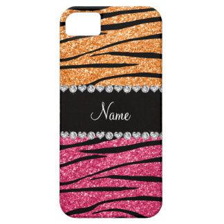 Personalized name pastel orange pink glitter zebra iPhone 5 covers