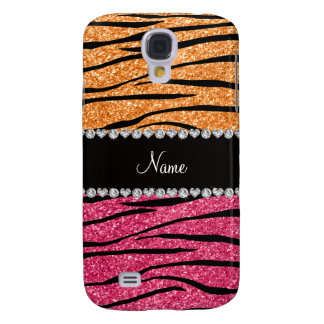 Personalized name pastel orange pink glitter zebra samsung galaxy s4 cover