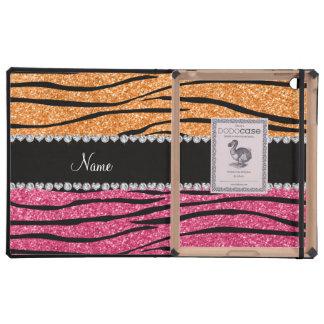 Personalized name pastel orange pink glitter zebra iPad case