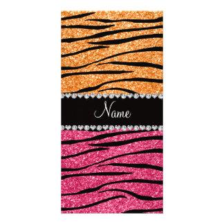 Personalized name pastel orange pink glitter zebra custom photo card