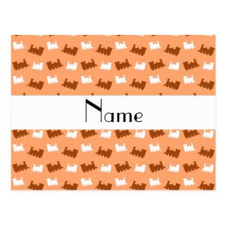 Personalized name pastel orange train pattern postcard
