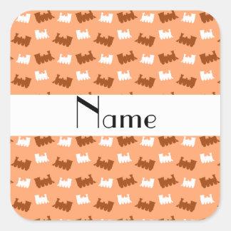 Personalized name pastel orange train pattern sticker