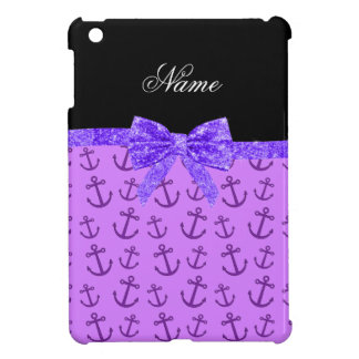 Personalized name pastel purple anchors bow iPad mini cases