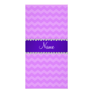 Personalized name pastel purple chevrons photo card template