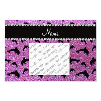Personalized name pastel purple glitter dolphins photo