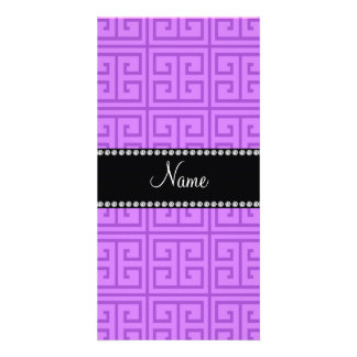 Personalized name pastel purple greek key pattern customized photo card
