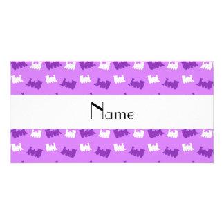 Personalized name pastel purple train pattern custom photo card