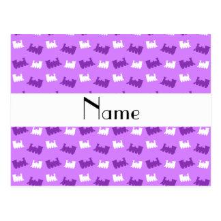 Personalized name pastel purple train pattern postcards