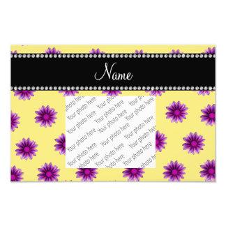 Personalized name pastel yellow purple pink flower photo print