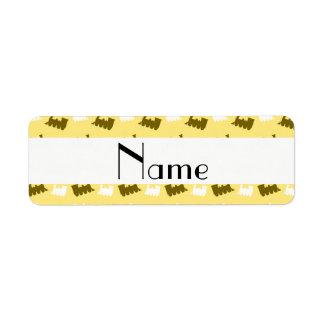 Personalized name pastel yellow train pattern return address label