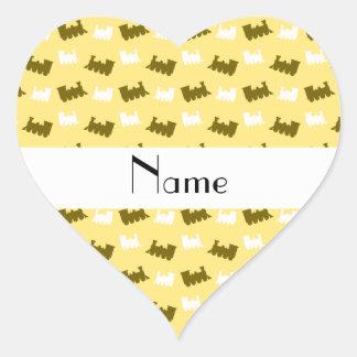 Personalized name pastel yellow train pattern sticker