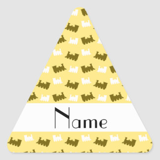 Personalized name pastel yellow train pattern stickers