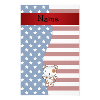 Personalized name Patriotic dog Stationery Paper