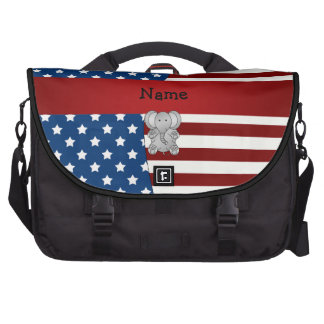 Personalized name Patriotic elephant Laptop Bag