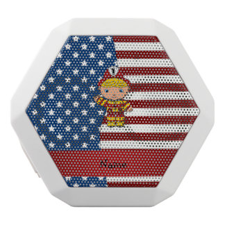 Personalized name Patriotic fireman White Boombot Rex Bluetooth Speaker