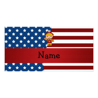 Personalized name Patriotic fireman Customised Photo Card
