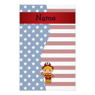 Personalized name Patriotic fireman Stationery