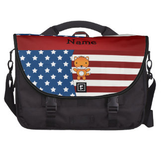 Personalized name Patriotic fox Bags For Laptop