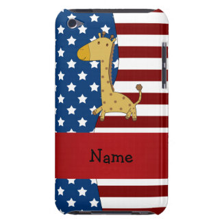 Personalized name Patriotic giraffe iPod Touch Case
