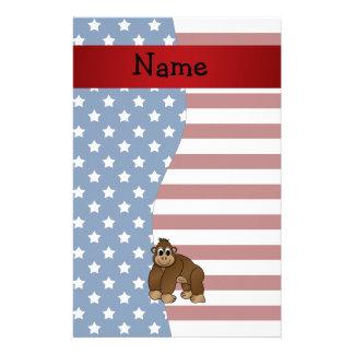 Personalized name Patriotic gorilla Custom Stationery