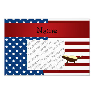 Personalized name Patriotic honey badger Art Photo