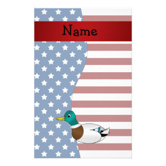 Personalized name Patriotic mallard duck Personalized Stationery