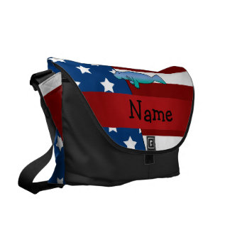 Personalized name Patriotic manatee Courier Bag