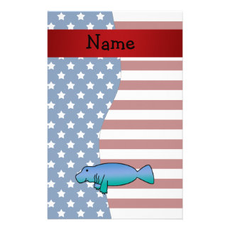 Personalized name Patriotic manatee Stationery